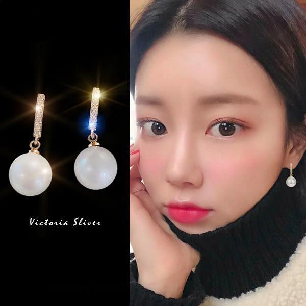 925純銀針  韓國優雅氣質 光彩亮麗耳環-維多利亞190627