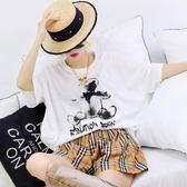 短袖t恤女夏季新款水墨畫小熊防曬衫寬鬆中長款棉麻上衣wl3608『badboy時尚』