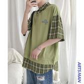 現貨 假兩件襯衫韓版格子潮流帥氣短袖襯衣夏季寬鬆上衣男 格紋襯衫 襯衫 潮流男裝