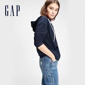 Gap女裝 簡約風格寬鬆式連帽休閒上衣 618427-靛藍色