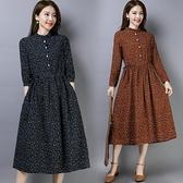 洋裝 春秋季女裝民族風裙子寬鬆顯瘦碎花棉麻風復古印花長袖洋裝-Milano米蘭