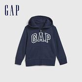 Gap男幼童 Logo磨毛刷毛舒適拉鍊連帽衫 600533-海軍藍
