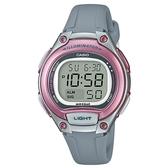 【CASIO】10年電力經典輕巧便利好戴運動電子錶-灰x粉(LW-203-8A)