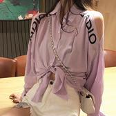 襯衫-個性翻領露肩時尚肩上字母印花純色百搭長袖襯衫Kiwi Shop奇異果0809【SZZ9543】