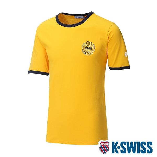 K-SWISS Crew Neck Binding Tee棉質吸排T恤-男-黃