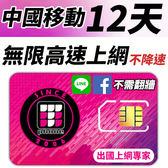 【TPHONE上網專家】 中國移動 12天無限4G高速上網 不降速 不須翻牆 FB/LINE直接用