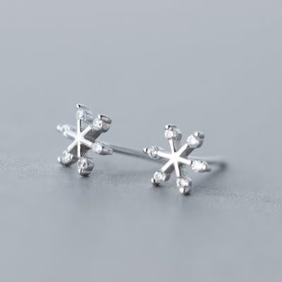 925純銀耳環(耳針式)-時尚氣質雪花生日情人節禮物女飾品73dr93[時尚巴黎]