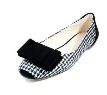春季新品單鞋女淺口方頭平底鞋甜美蝴蝶結船鞋韓版淑女公主鞋:xuel00348