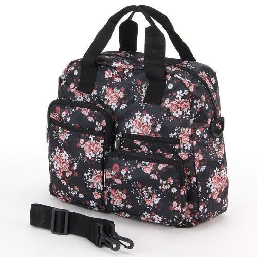 【日本厳選】浪漫玫瑰花波士頓包 boston bag - 黑底玫瑰