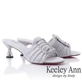 2019春夏_Keeley Ann造型透視跟 水鑽方釦綢緞低跟拖鞋(銀色) -Ann系列