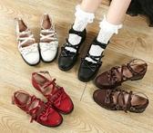 甜美文藝學生鞋軟妹jk制服鞋圓頭低跟蝴蝶結Lolita女單鞋