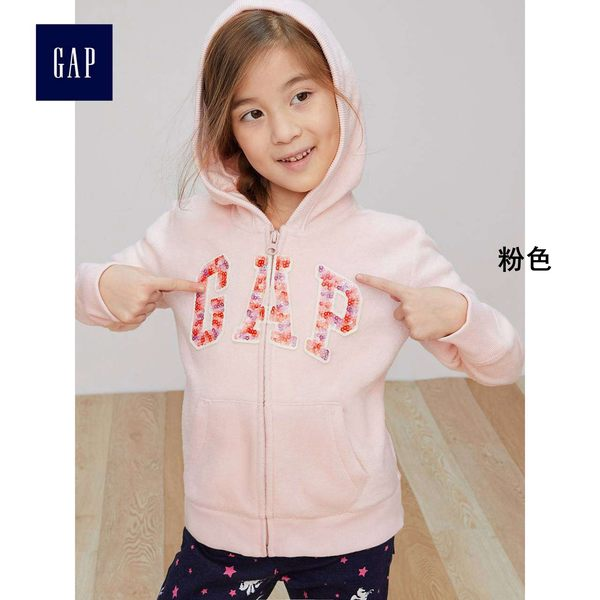 Gap女童 Logo條紋衣袖連帽長袖休閒外套334767-粉色