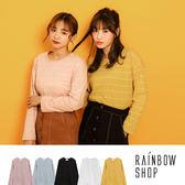 現貨-韓版簡約橫條長袖T恤-L-Rainbow【A30-8120】