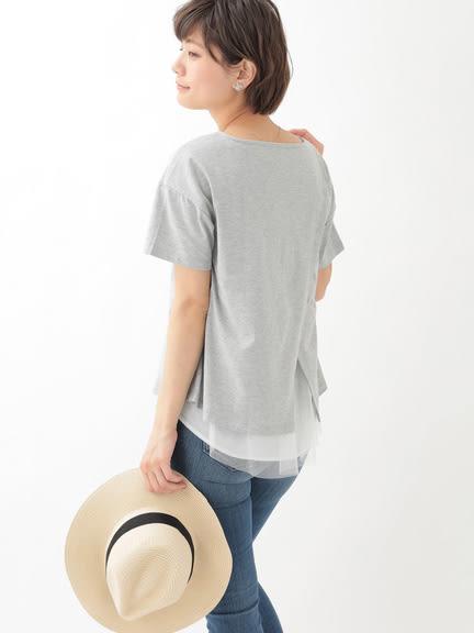 ❖ Hot item ❖ 薄紗下擺拼接背開衩剪裁上衣 - earth music&ecology