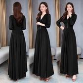洋裝長袖黑色小晚禮服 新款氣質洋氣宴會會平時可穿女 洋裝 麥琪