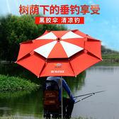 萊歐釣魚傘釣傘遮陽傘防雨萬向雙層防曬2.4米地插漁具傘防風加固   WY