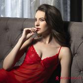 性感睡衣 夢特嬌 紅色誘惑 深V蕾絲絲質