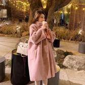 冬季新款仿皮草水貂絨毛毛絨長款大衣立領過膝加厚寬鬆外套女 城市科技