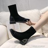 秋冬季新款及踝靴歐美方頭彈力網紅瘦瘦靴絨面中跟二棉短靴女(免運快出)