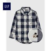 Gap 男嬰幼童 Disney迪士尼系列長袖格子襯衫496447-藏青色