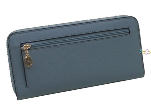 Roberto Mocali 諾貝兔 風尚牛皮系列 拉鍊長夾 RM-77207 粉藍色