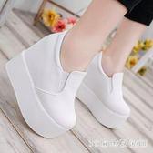 鬆糕厚底鞋 透氣鬆糕小白鞋女韓版百搭內增高女鞋12CM厚底坡跟高跟LB12351【3C環球數位館】