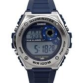 CASIO手錶 金屬風質感深藍電子膠錶NECD20