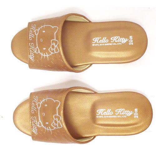 HELLO KITTY 室內兒童皮拖鞋(金色)
