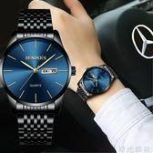 手錶 超薄時尚潮流韓版精鋼帶石英錶手錶簡約男士腕錶學生防水男錶 綠光森林