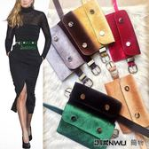 新款韓版女式腰包金絲絨
