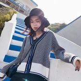 原宿毛衣外套女短款寬鬆格子針織衫學生韓版開衫  伊衫風尚