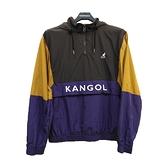 KANGOL 中性黃x咖x紫拼接撞色風衣外套-NO.6055160070