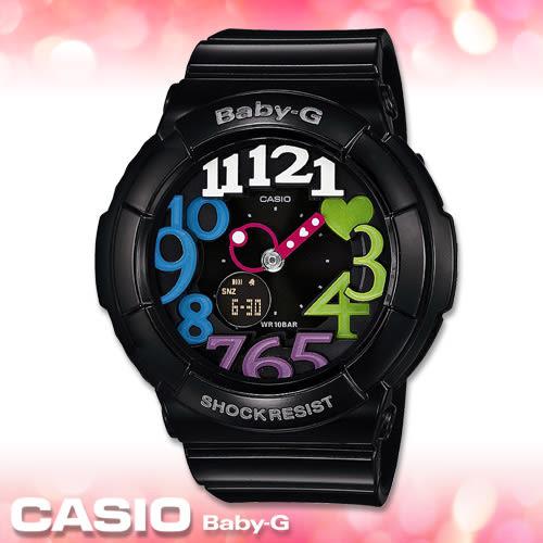 CASIO卡西歐 手錶專賣店 Baby-G BGA-131-1B2 黑 女錶 霓虹立體數字造型 雙顯錶 防水100米 橡膠錶帶