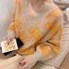 鏤空針織上衣 毛絨花朵針織衫鏤空破洞提花小眾設計個性套頭毛衣秋冬新款瘦【樂淘淘】