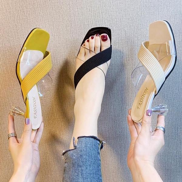高跟拖鞋 網紅拖鞋女外穿超火夏季鞋子女2021新款高跟鞋百搭細跟ins潮涼拖 韓國時尚 618