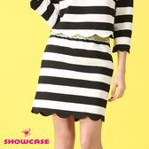 【SHOWCASE】花瓣下襬條紋OL窄裙(黑)
