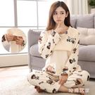 孕婦月子服 法蘭絨孕婦睡衣秋冬季珊瑚絨加絨加厚哺乳衣家居服套裝OB601『時尚玩家』