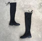 斷碼秋冬新款女鞋圓頭耐磨平底休閒長靴過膝靴彈力絨百搭女靴子  後街