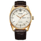 【台南 時代鐘錶 CITIZEN】星辰 羅馬字菱格紋 光動能日期顯示 皮革錶帶男錶 AW0082-19A 白 42mm