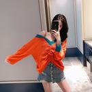 VK精品服飾 韓系時尚抽繩休閒露肩針織衫長袖上衣