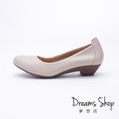 大尺碼女鞋-夢想店-上班族首選真皮靜音鞋跟舒適有型防滑耐磨工作鞋3.5cm(41-44)【LS181-037】米色