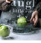 果盤紋北歐風格水果盤客廳家用水晶玻璃沙拉碗水果盆YYS麥吉良品
