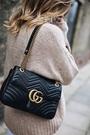 ■專櫃77折■全新真品■ Gucci 443496 GG Marmont 黑色 30 cm 雙G金鍊肩背包