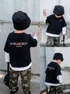 兒童男T恤 棉小班兒童假兩件長袖T恤春季新款男童街頭字母打底衫寶寶潮 寶貝計書