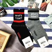 【KP】韓國 22-26cm 英文字母 雙色 黑紅 灰黑 成人襪 直版襪 襪子 DTT100007739