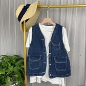 牛仔馬甲 夏季新款chic韓國復古學院風寬松牛仔馬甲女百搭寬松上衣外套學生 快速出貨