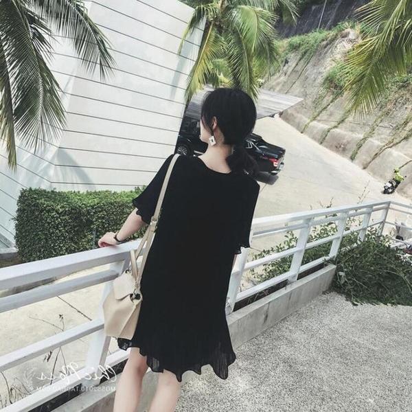 2019新款大碼女裝胖妹妹夏季潮雪紡減齡心機裙子寬鬆遮肚子連身裙聖誕交換禮物