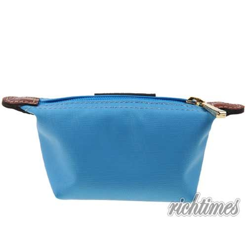 【裕代 LONGCHAMP】天空藍皮革零錢包 LC1C8326