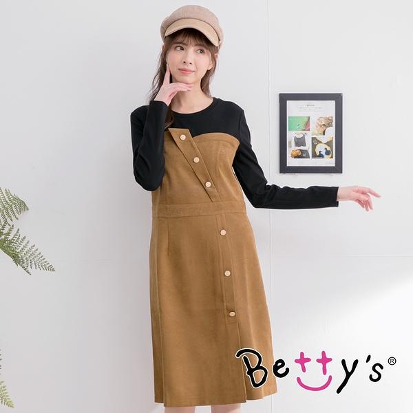 betty's貝蒂思 飾釦拼色長洋裝(駝色)