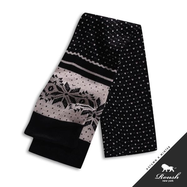 【Roush】雪花點點設計混羊毛圍巾 - 【1098】